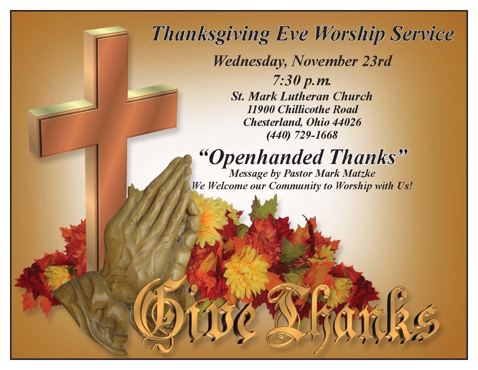 Election Eve Prayer >> Thanksgiving Eve Service – St. Mark Lutheran Church